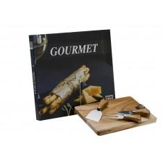 Ξύλινο Πλατό Τυριών με 3 μαχαίρια Τυριού Βιβλίο Gourmet