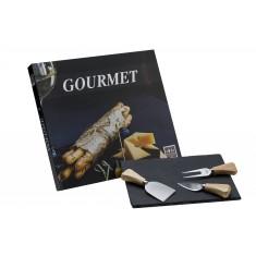 Πέτρινο Πλατό Τυριών Με 3 Μαχαίρια Τυριού Βιβλίο Gourmet Vol 3