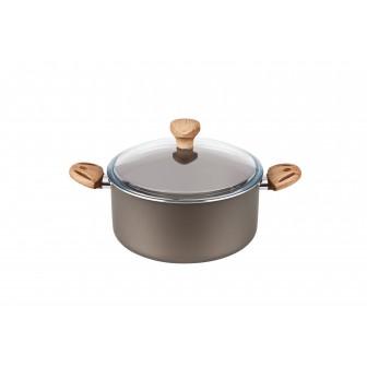 Χύτρα Αντικολλητική Olive Με Γυάλινο Καπάκι 24cm Fest