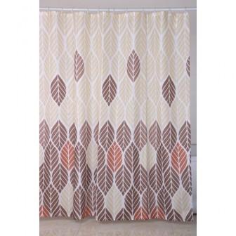 Κουρτίνα Μπάνιου Υφασμάτινη 180x180cm Φυλλαράκια
