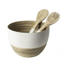 Μπολ Σαλάτας  Bamboo & Κουτάλες 22cm Λευκή