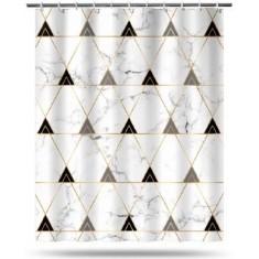 Κουρτίνα Μπάνιου Υφασμάτινη 160x200cm Geometric