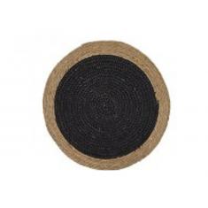 Σουπλά Ψάθινο Στρογγυλό Seagrass Μπεζ- Μαύρο 35cm