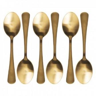 Κουταλάκια Γλυκού Gold Σετ 6 Τμχ
