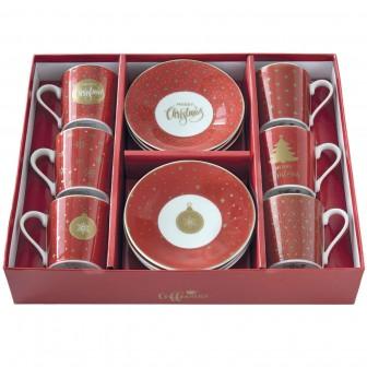 Φλιτζάνι Espresso Σετ 6τμχ. Πορσελάνης Christmas