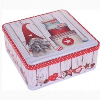Κουτί Μεταλλικό Τετράγωνο Χριστουγεννιάτικο Gnome 19,7cm