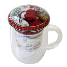 Κούπα Γυάλινη Με Σουρωτήρι Άγιος Βασίλης 350ml