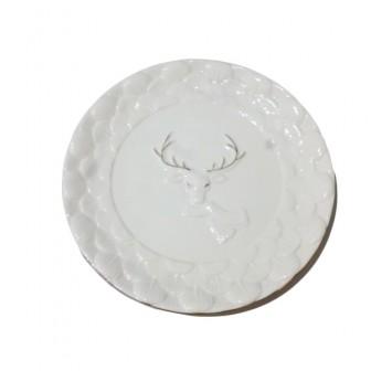 Πιατέλα Κεραμική Τάρανδος Λευκή 23cm