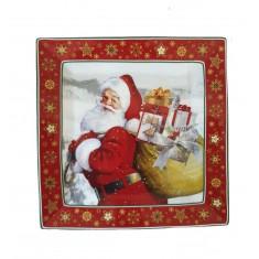 Πιατέλα Πορσελάνης Τετράγωνη Άγιος Βασίλης Μικρή