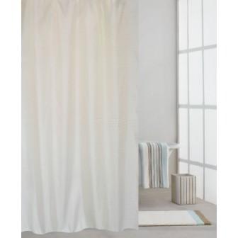 Κουρτίνα Μπάνιου Υφασμάτινη Μονόχρωμη Λευκή 180x200cm