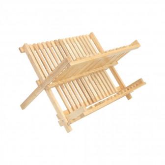 πιατοθήκη ξύλινη με δυο επίπεδα μπεζ