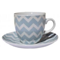 Φλυτζάνι & Πιάτο Καφέ Zic Zac Blue Σετ 6τμχ.
