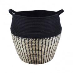 Καλάθι Απλύτων Ψάθινο με ύφασμα Δίχρωμο Μαύρο 40cm