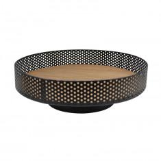 Φρουτιέρα - Δίσκος Μεταλλική με Ξύλο Μαύρη 30cm