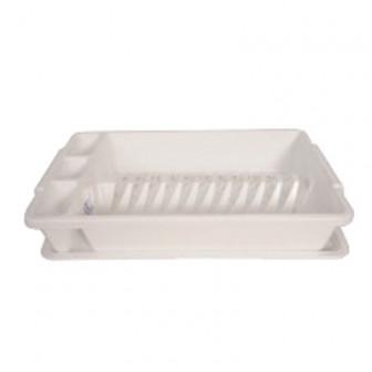 Πιατοθήκη Πλαστική Με Δίσκο Λευκή
