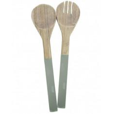Σετ Κουτάλες Σερβιρίσματος Σαλάτας Bamboo Green Marva Home