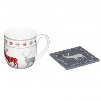 """Κούπα Πορσελάνης Με Σουβέρ """"We love Christmas"""" Reindeer Kitchencraft"""