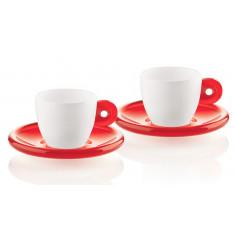 Φλυτζάνι & Πιάτο Καφέ Gocce Red Σετ 2τμχ. Guzzini