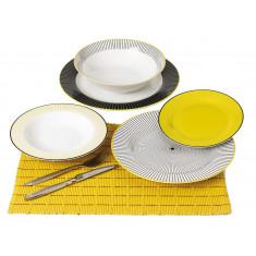 Σερβίτσιο Φαγητού 20τμχ. Στρογγυλό Navy yellow