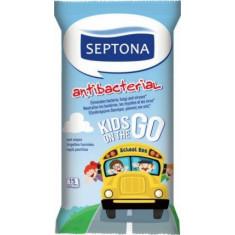 Septona Υγρά Μαντηλάκια Αντιβακτηριδιακά με Kids The On Go15τμχ
