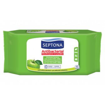 Septona Υγρά Μαντηλάκια Αντιβακτηριδιακά Με Άρωμα Πράσινο Μήλο 60τμχ