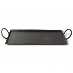 Δίσκος Σερβιρίσματος Μεταλλικός Με Λαβές Μαύρος 49cm Gusta