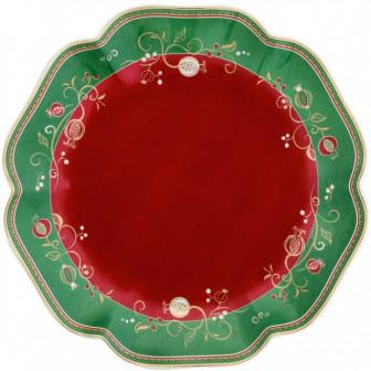 Πιατέλα Χριστουγεννιάτικη Πορσελάνης Στρογγυλή Tempo Di Festa 31cm Brandani