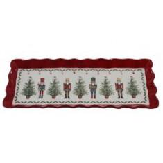 Πιατέλα Χριστουγεννιάτικη Κεραμική Ορθογώνια Nutcracker 38cm