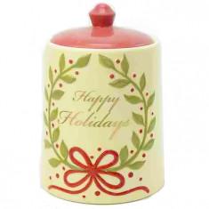 Μπισκοτιέρα Χριστουγεννιάτικη Κεραμική Happy Holiday 19cm
