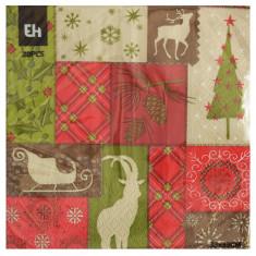 Χαρτοπετσέτες Πολυτελείας Χριστουγεννιάτικες 20Τμχ.Christmas Patchwork