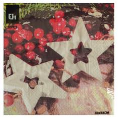 Χαρτοπετσέτες Πολυτελείας Χριστουγεννιάτικες 20Τμχ. Αστεράκια