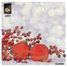 Χαρτοπετσέτες Πολυτελείας Χριστουγεννιάτικες 20Τμχ. Κόκκινες Μπάλες