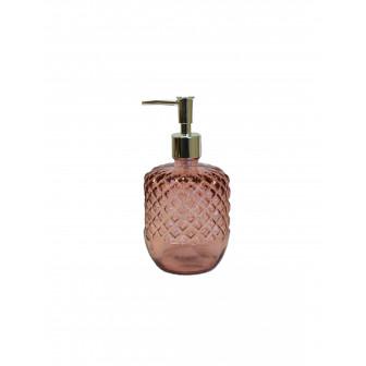 Dispencer Θήκη Για Κρεμοσάπουνο Γυάλινο Diamond Pink