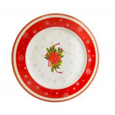 Πιάτο Φρούτου Στρογγυλό Σετ 6τμχ. Πορσελάνης Christmas Red Flower 19cm