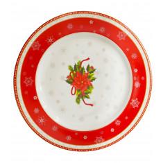 Τουρτιέρα Χριστουγεννιάτικη Με Πόδι Πορσελάνης Christmas Red Flower31cm