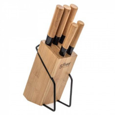 Μαχαίρια Σετ 5Τμχ Με Βάση Bamboo 5Five