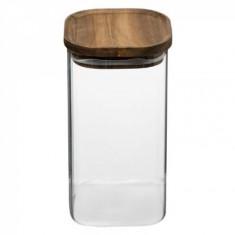 Βάζο Για Καφέ & Ζάχαρη Γυάλινο Με Ξύλινο Καπάκι 1,3lt 5five