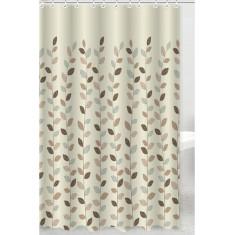 Κουρτίνα Μπάνιου Υφασμάτινη Beige Leaves 180x180cm