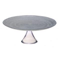 Τουρτιέρα Γυάλινη Με Πόδι 32cm Mosaic Grey