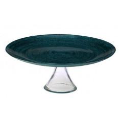 Τουρτιέρα Γυάλινη Με Πόδι 32cm Mosaic Green