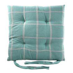 Μαξιλάρι Διακοσμητικό Καρέκλας Υφασμάτινο Τιρκουάζ  Καρώ 40Χ40