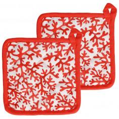 Πιάστρες Φούρνου Σετ 2τμχ. Ύφασμα Reef Cotton Red Andrea Fontebasso