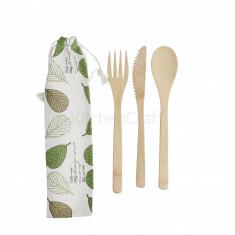 Μαχαιροπίρουνα Σετ 3τμχ Bamboo Elements Με Θήκη Kitchencraft