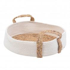 Καλάθι Ψάθα Ύφασμα Cotton Rope Στρογγυλό ΅White 38cm