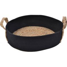Καλάθι Ψάθα Ύφασμα Cotton Rope Στρογγυλό ΅Black 38cm