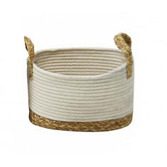Καλάθι Ψάθα Seagrass Ύφασμα White 28cm