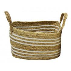 Καλάθι Ψάθα Seagrass Ύφασμα White 32cm