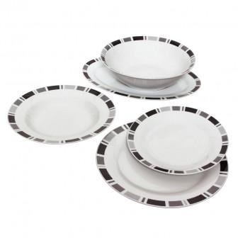 Σερβίτσιο Φαγητού Πορσελάνης Στρογγυλό Σετ 20τμχ Black Grey