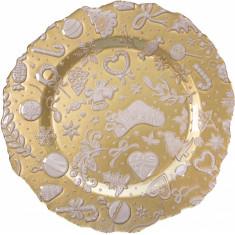 Πιατέλα Γυάλινη Christmas Gold White Brandani 32cm