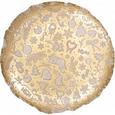 Πιατέλα Γυάλινη Christmas Gold White Brandani 39cm